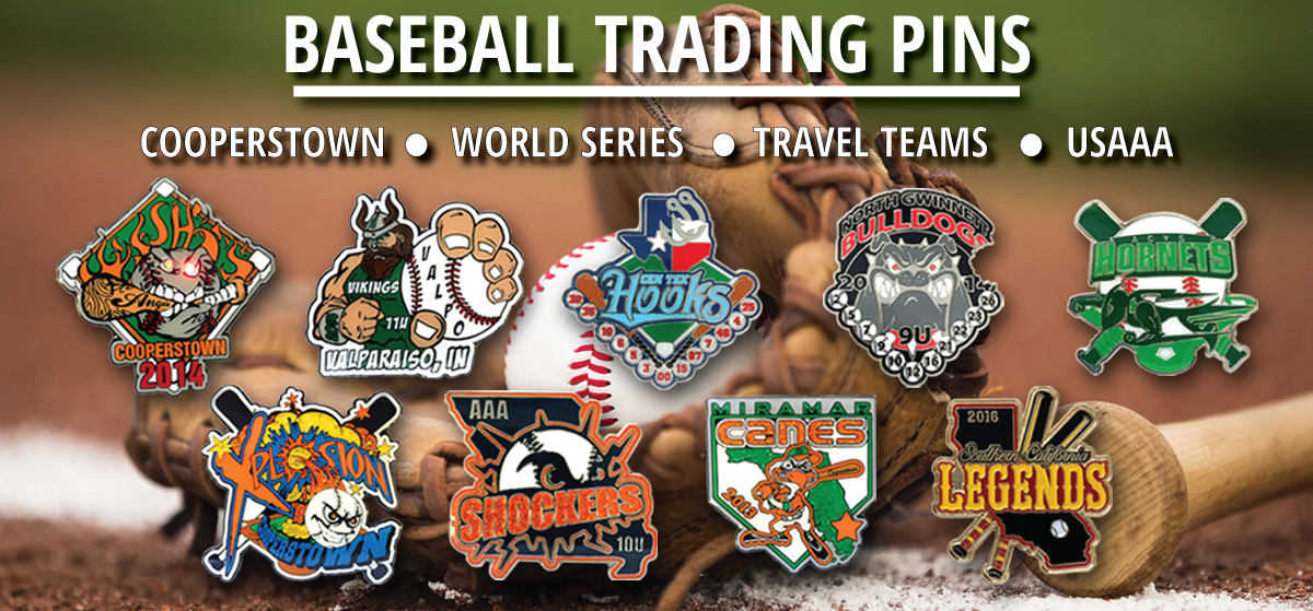 Baseball trading pins, Cooperstown Trading Pins, World Series trading Pins, Baseball trading Pins, USSSA Baseball Trading Pins, Custom Trading Pins collage from Tradingpins-On-Sale.com