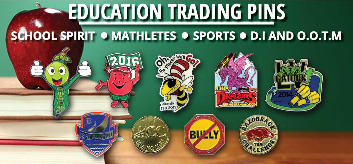 School tradingpins, Destination Imagination Trading Pins, Odyssey of the Mind trading Pins, School Spirit trading Pins, Education Trading Pins, Mathlete Trading Pins, Chstom Trading Pins, School Sports trading Pins collage from Tradingpins-On-Sale.com