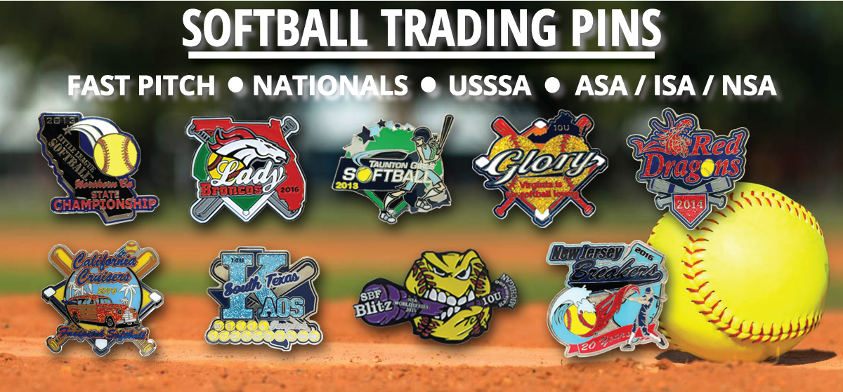 Softball trading pins, Nationals Trading Pins, Fast Pitch Trading Pins, Fast Pitch Softball, USSSA Softball Trading Pins, ASA Trading Pins, ISA Trading Pins, NSA Trading Pins, Custom Trading Pins collage from Tradingpins-On-Sale.com